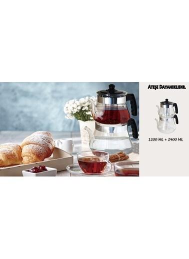 Bayev  Isıya Dayanıklı Büyük Boy Cam Çaydanlık-400630 Renksiz